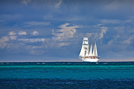 Stock Photo: 1606-160258 Tahiti-May 2009 Moorea Island (Society islands) Sailing ship