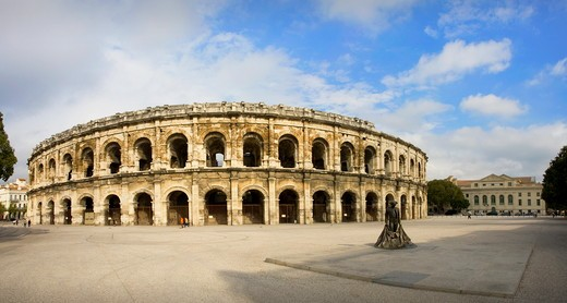 France , October 2009 Nimes City The roman built Arenes Bullfighting ring : Stock Photo