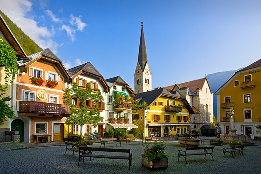 Stock Photo: 1606-160282 Austria , October 2009 Hallstatt City (W.H.) Market Square