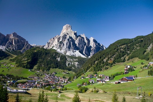 Italia , October 2009 Dolomite Alps Corvara in Badia Ciity : Stock Photo