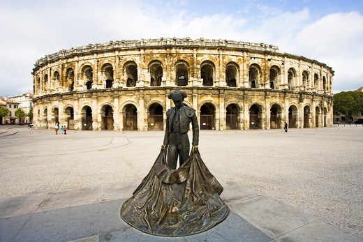Stock Photo: 1606-160344 France , October 2009 Nimes City The Roman Arenes (Bullfighting ring)