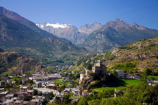 Stock Photo: 1606-160356 Italia , October 2009 Aosta Valley Saint Pierre Castle