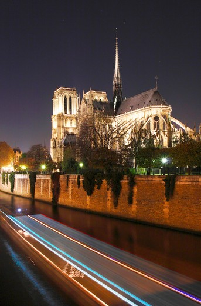 France,Paris,4th, Ile de la Cité,the cathedral Notre Dame and la Seine at night : Stock Photo