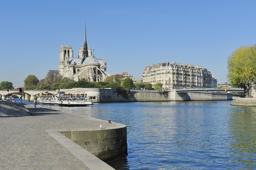 Stock Photo: 1606-162312 France, Ile-de-France, Capital, Paris, 4th, City center, Notre-Dame