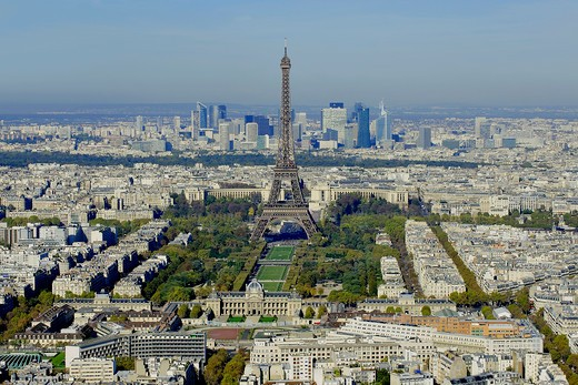 France, Ile-de-France, Capital, Paris, 7th, City center, plunging View(Sight), Eiffel Tower : Stock Photo