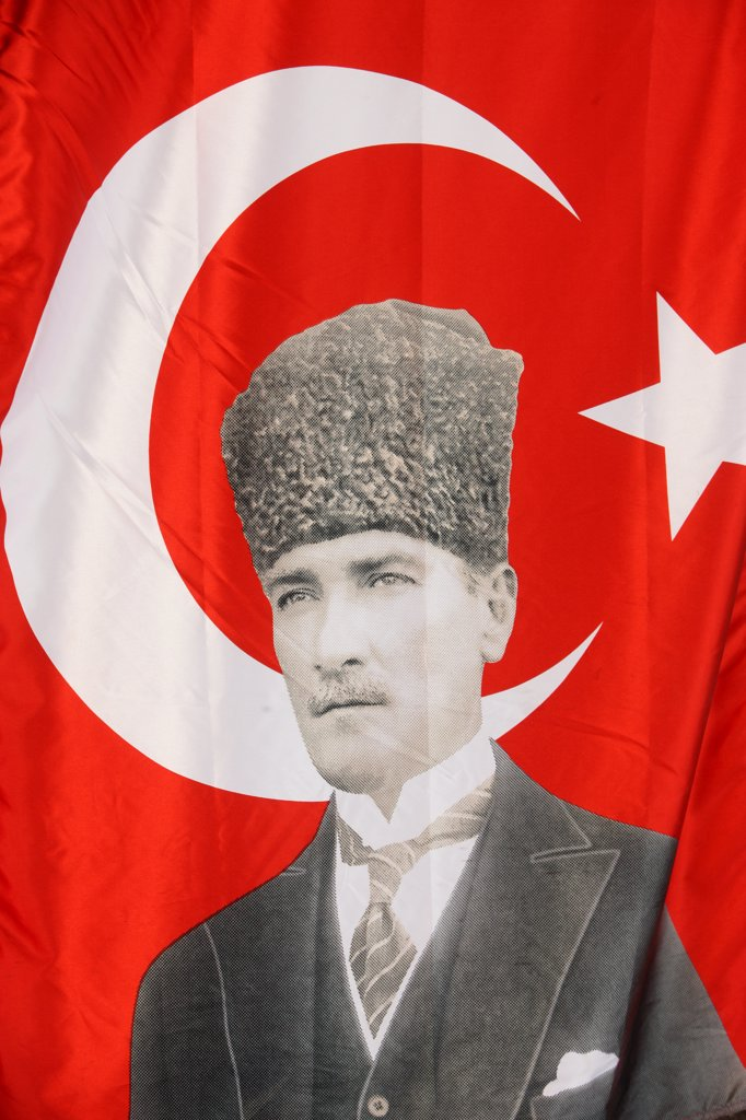 Turkish flag with a portrait of Ataturk. Istanbul. Turkey. (Istanbul, Marmara, Turquie) : Stock Photo