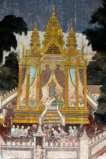 The interior of the Silver pagoda compound walls is covered with murals depicting stories from the Reamker, i.e. the Khmer version of the classic Indian epic, the Ramayana. Some sections of the murals are deteriorated and weather damaged. The murals [...] : Stock Photo