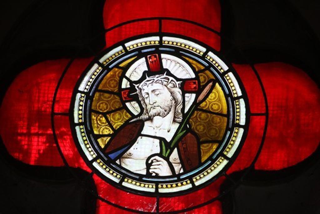 Jesus stained glass. Istanbul. Turkey. (Istanbul, Marmara, Turquie) : Stock Photo