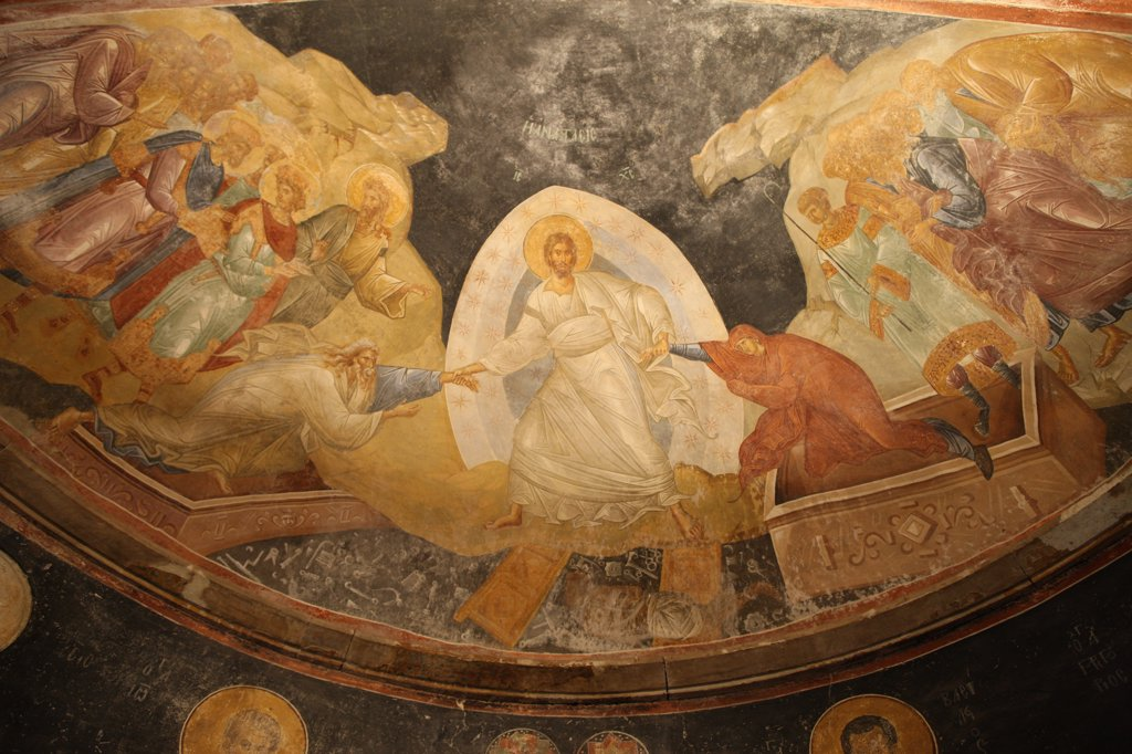 Stock Photo: 1606-162940 Chora church museum : Resurrection fresco . Istanbul. Turkey. (Istanbul, Marmara, Turquie)