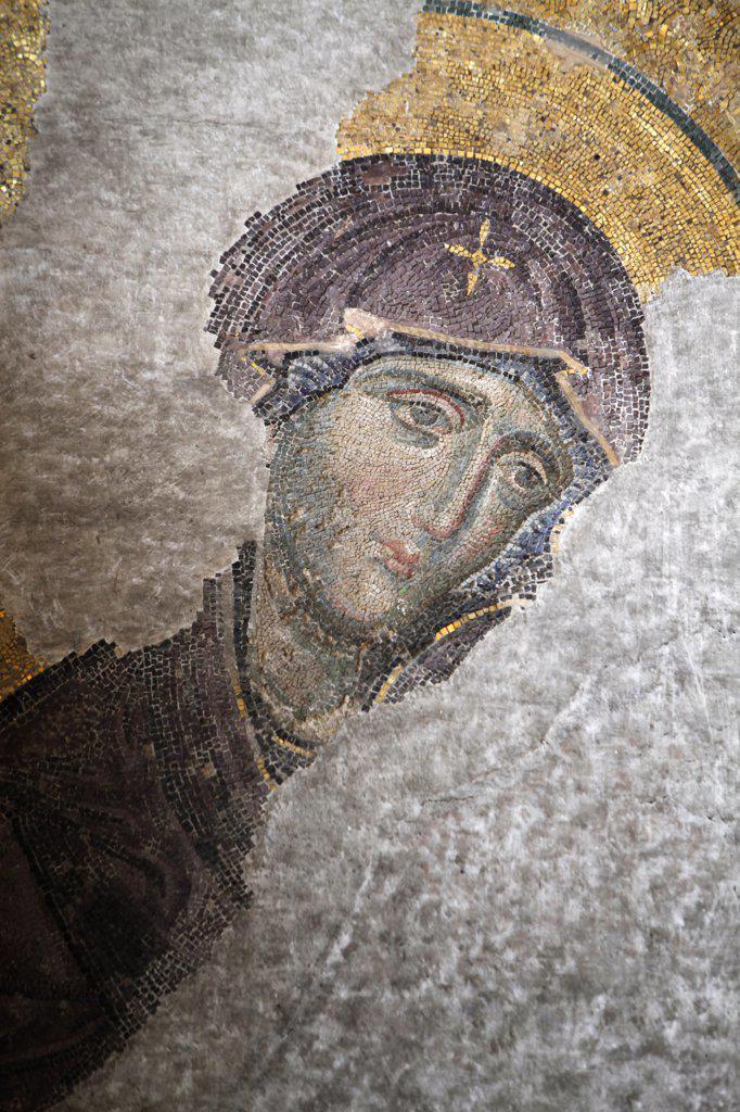 Hagia Sophia Deesis mosaic - Virgin Mary . Istanbul. Turkey. (Istanbul, Marmara, Turquie) : Stock Photo