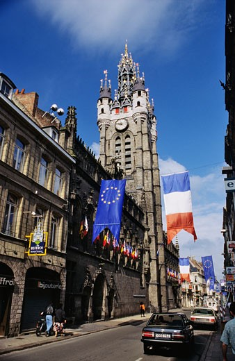 France, Nord, Douai, street, belfry : Stock Photo