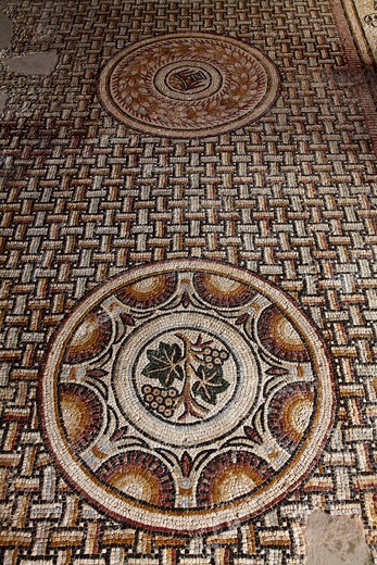 France, Midi-Pyrénées, Gers (32), Montreal-du-Gers, villa gallo romaine of Seviac, mosaic, (4th and 5th centuries) : Stock Photo