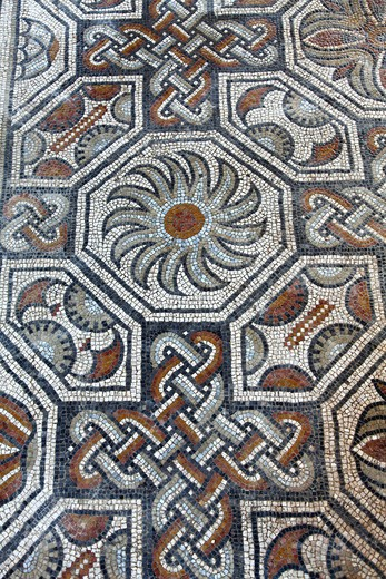 Stock Photo: 1606-164091 France, Midi-Pyrénées, Gers (32), Montreal-du-Gers, villa gallo romaine of Seviac, mosaic, (4th and 5th centuries)