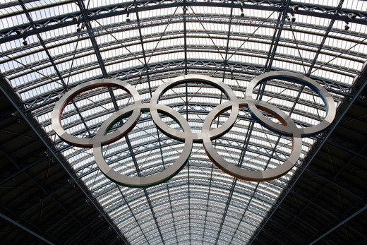 Olympic game symbol at St Pancras's station . London. England. : Stock Photo