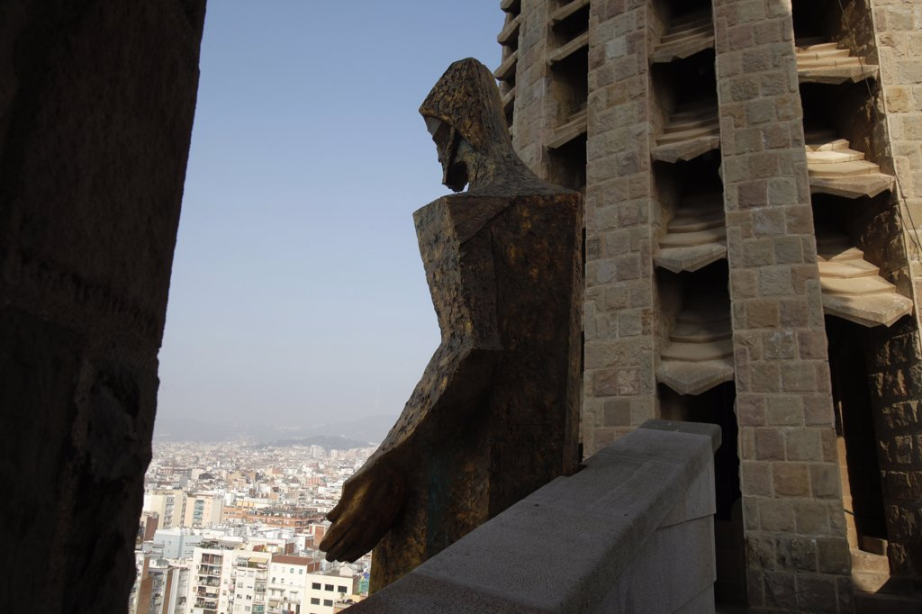 Stock Photo: 1606-164497 The Temple of the Sagrada Familia - Ascension of Christ sculpture over the city . Barcelona. Spain.