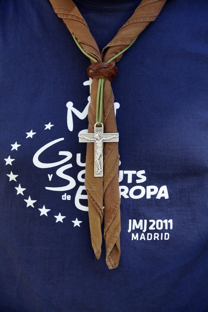 Stock Photo: 1606-164595 Pilgrim at World Youth Day 2011 . Madrid. Spain.