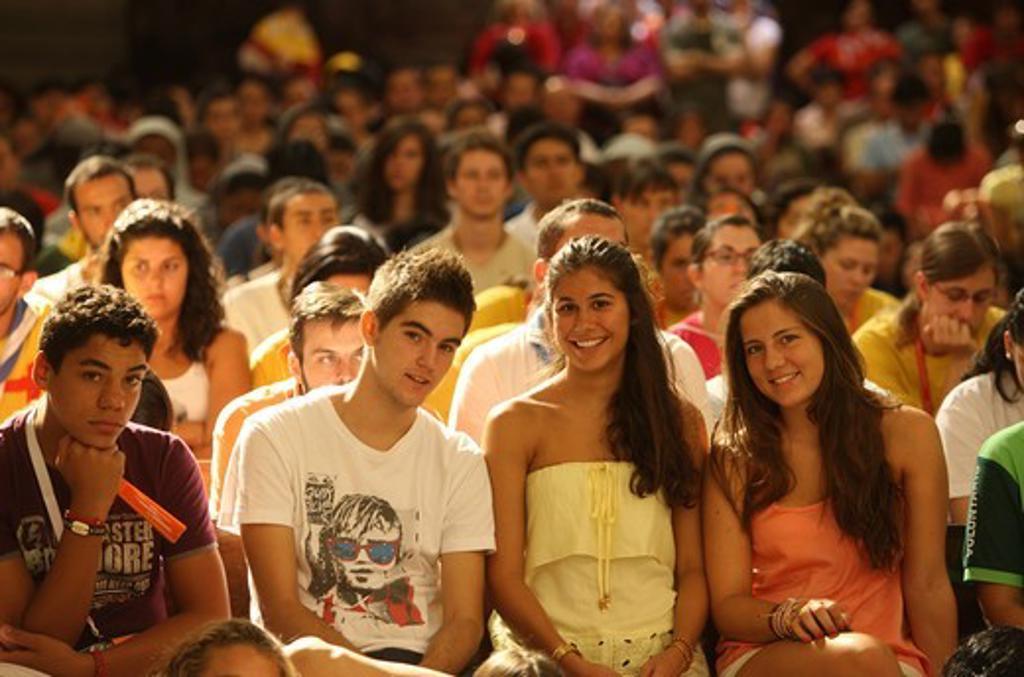 Youth listening to Catholic doctrine teaching during World Youth Day . Madrid. Spain. : Stock Photo