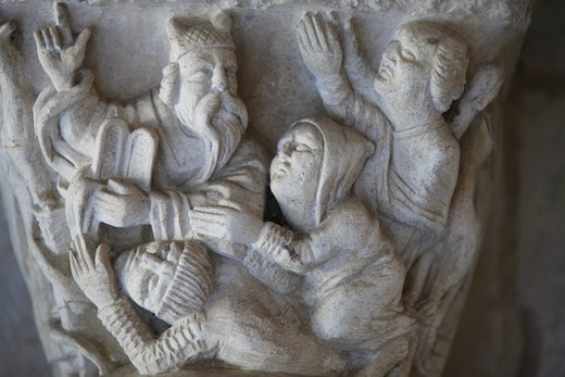 Capital sculpture in Saint George's abbey chapter house (12th century) . Saint Martin de Boscherville. France. : Stock Photo