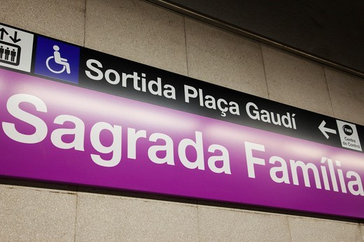 Stock Photo: 1606-165054 Spain,Barcelona,Sagrada Familia Metro Station Sign