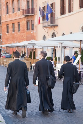 Italy,Rome,Priests in Piazza Navona : Stock Photo