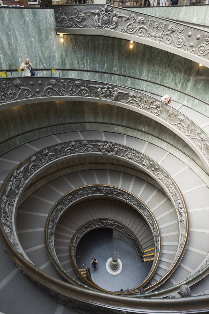 Stock Photo: 1606-165458 Italy,Rome,The Vatican,Vatican Museum,Spiral Stairway designed by Guiseppe Momo in 1934