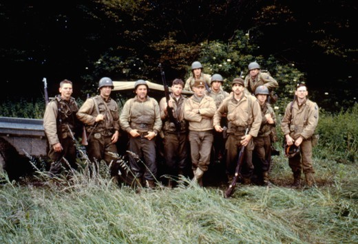 Stock Photo: 1606-166345 Barry Pepper, Tom Hanks, Tom Sizemore, Edward Burns, Vin Diesel, Adam Goldberg, Jeremy Davies and Dale Dye , Saving Private Ryan , 1998 directed by Steven Spielberg [Dreamworks LLC ,Paramount Pictures]