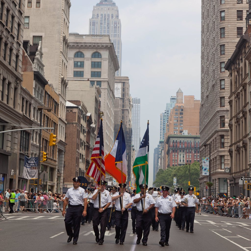 Stock Photo: 1606-168621 New York - United States, police band during the Gay pride parade on fifth avenue