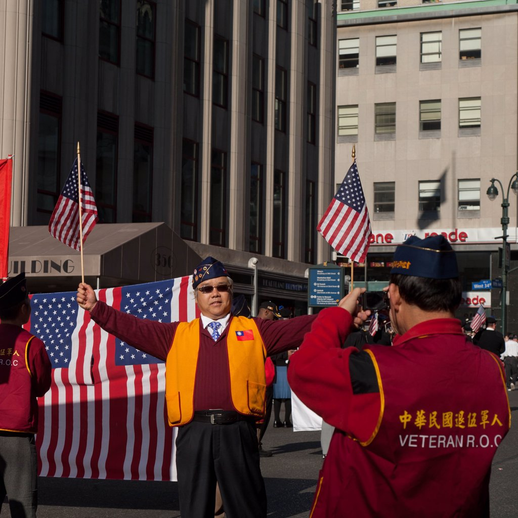 New York - United States, Veteran day parade, American flags : Stock Photo