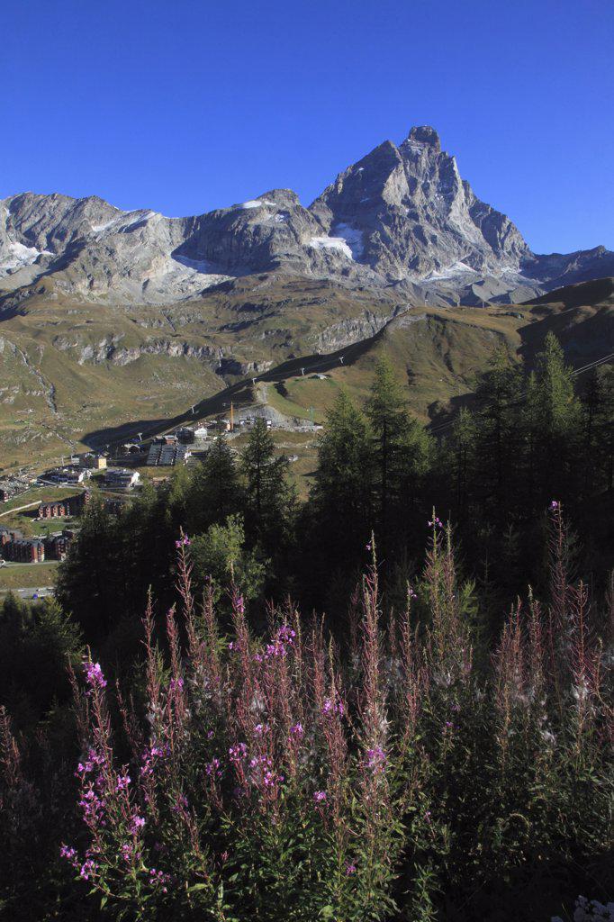 Italy, Alps, Aosta Valley, Breuil-Cervinia, Matterhorn, Monte Cervino, : Stock Photo