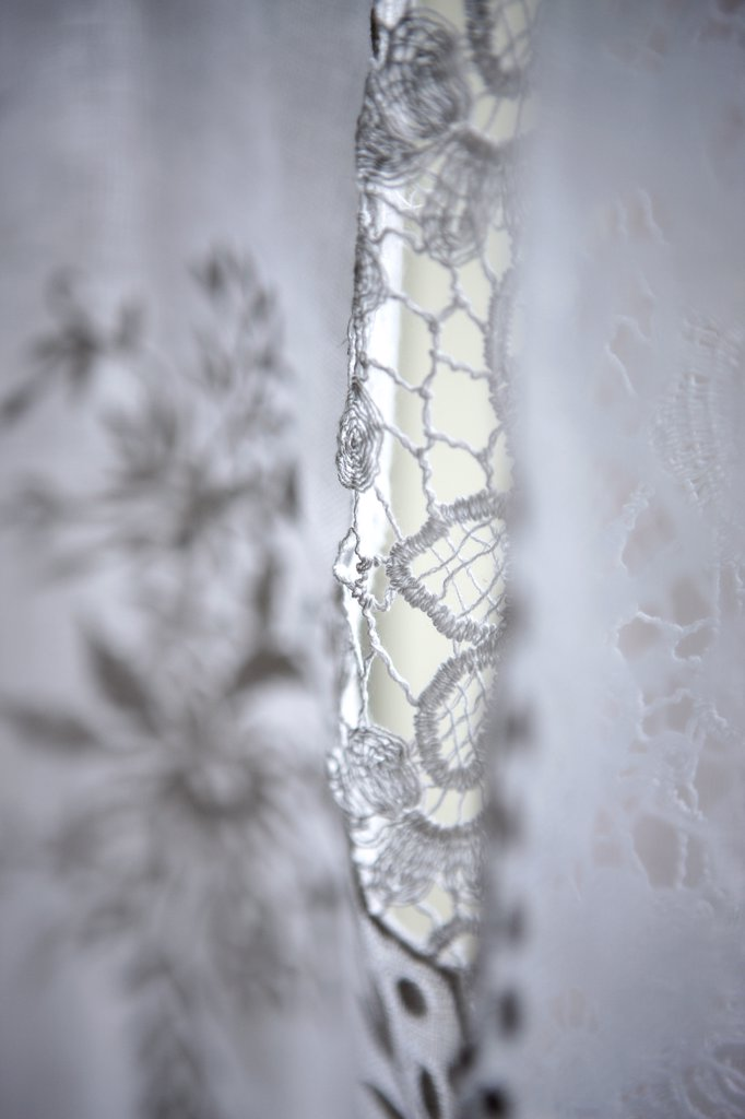 Close up of an linen embroidery : Stock Photo