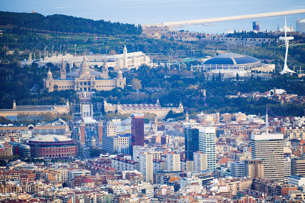 Stock Photo: 1606-170079 Spain-Catalunya region-Barcelona City-Sans District-Montjuich National Palace , Arenas Bullfighting Ring-San Jordi Sports Palace and Calatrava Tower