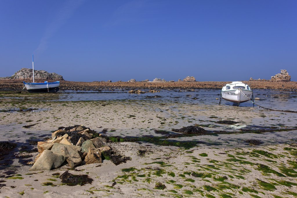 France, Cotes d' Armor, Plougrescant, low tide, boats : Stock Photo