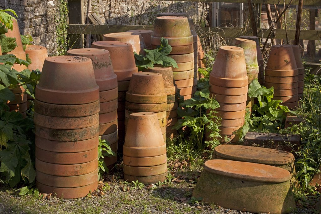 Stock Photo: 1606-171721 U.K Cornwall,The Lost Gardens of Heligan,flower pots