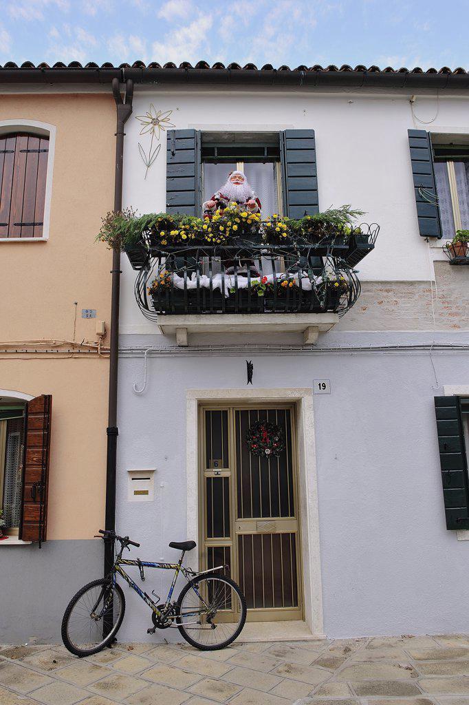 Italy, Veneto, Island of Murano, Santa Claus, Balcony : Stock Photo