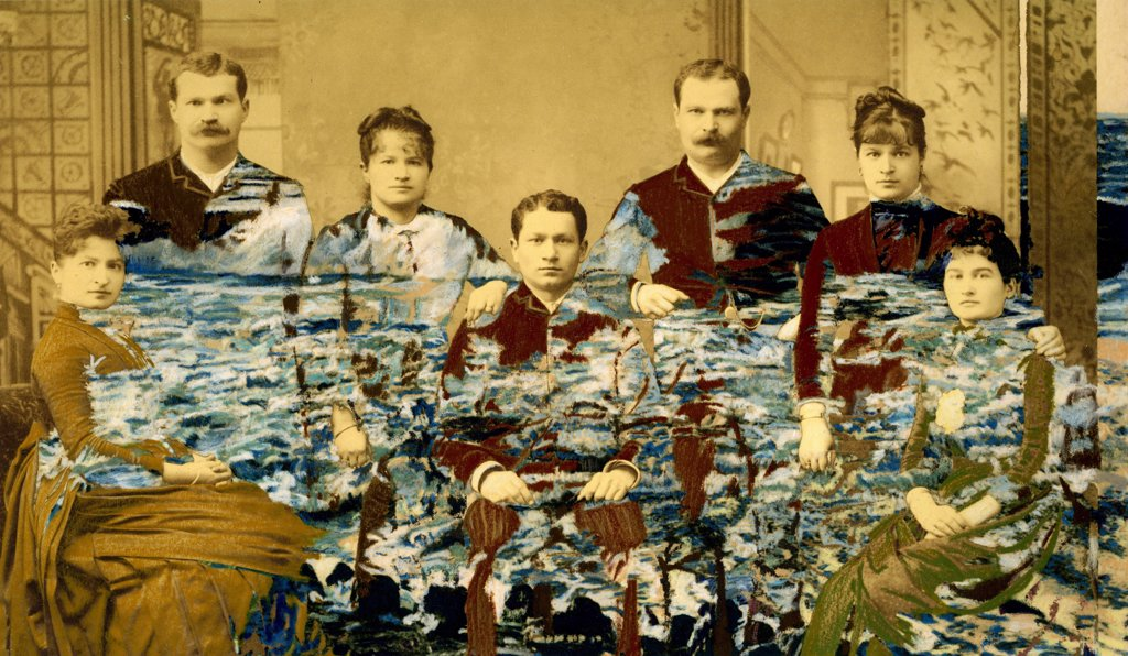 Painted and assembled ancient photograph of a family circa 1900 : Stock Photo