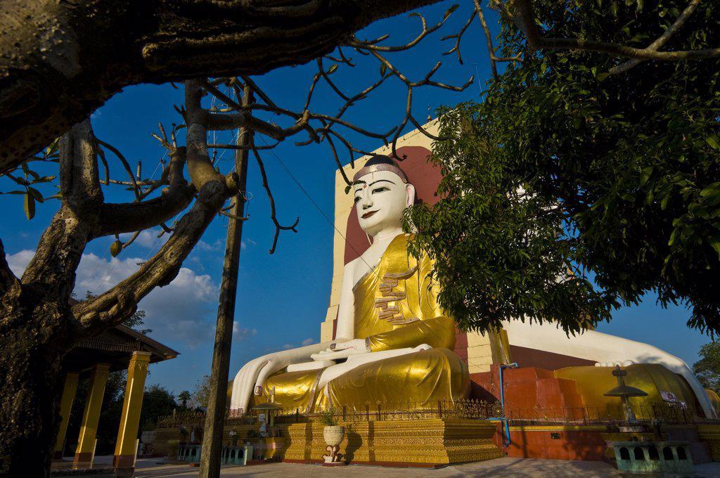 Stock Photo: 1606-173540 Myanmar (Burma), Yangon State, Bago (Pegu), Kyaik Pun Pagoda, built in 1476 by King Dhammazedi, it shelters 4 impressive Buddha statues of 30 meters high each