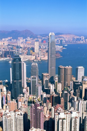 China,Hong Kong,View from Victoria Peak,City Skyline and Victoria Harbour : Stock Photo