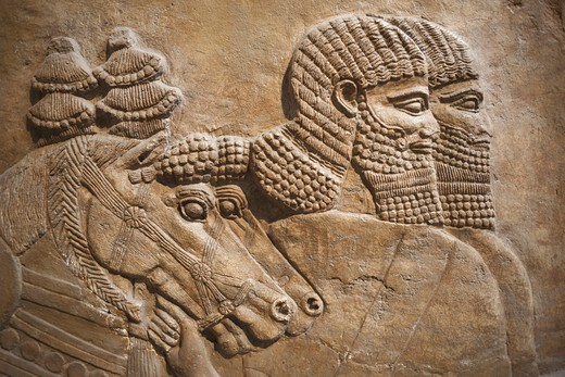 Stock Photo: 1606-174099 England,London,British Museum,Assyrian Relief from Nimrud showing Horses and Horsemen of the Royal Chariot 725BC