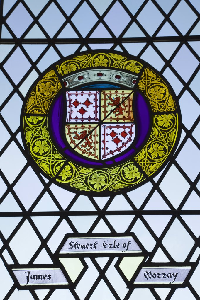 Stock Photo: 1606-174420 Scotland,Central Region,Stirling,Stirling Castle,Stain Glass Window in the Great Hall
