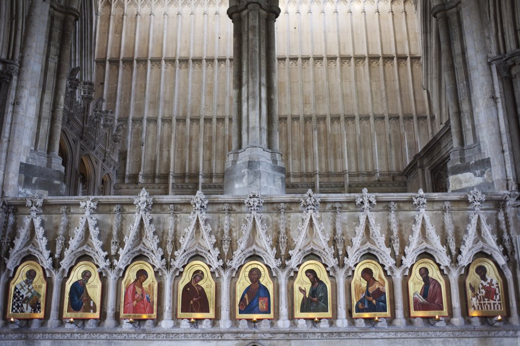 Stock Photo: 1606-174958 England,Hampshire,Winchester,Winchester Cathedral,20th century Icons by Sergei Fyodorov