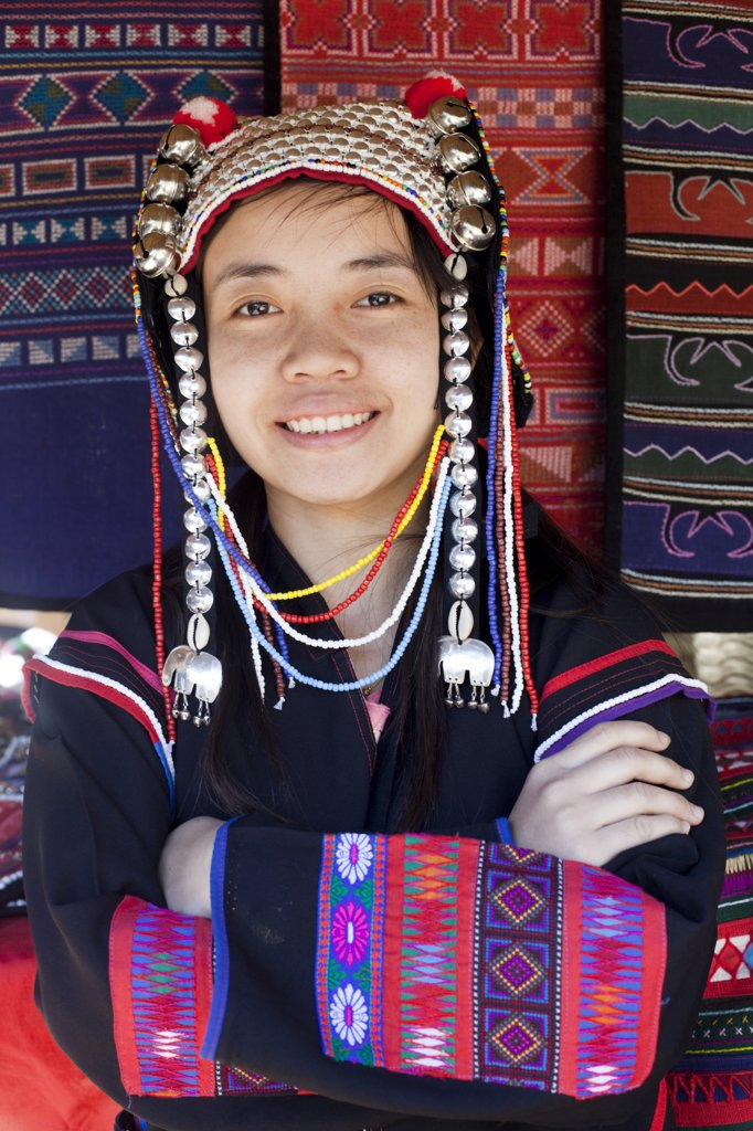Stock Photo: 1606-175836 Thailand,Golden Triangle,Chiang Mai,Akha Hilltribe Girl Wearing Traditional Costume