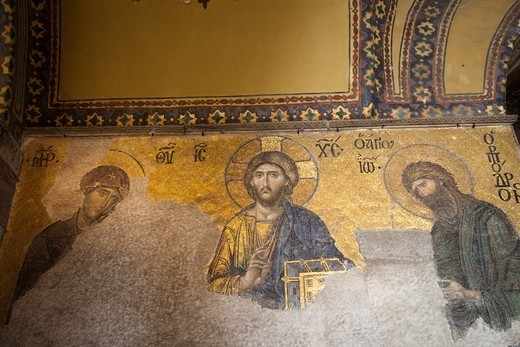 Turkey,Istanbul,Byzantine Religious Mosaic in Hagia Sophia : Stock Photo