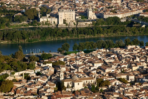 Stock Photo: 1606-177185 France, Bouche-du-Rhone (13), (aerial view), Tarascon and Beaucaire, cities of the Rhone Valley, (aerial view),