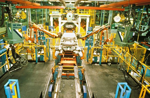 Argentina, Buenos Aires, inside of Volkswagen factory, robotized chain : Stock Photo
