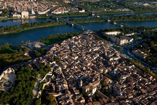 Stock Photo: 1606-177240 France, Gard (30), Beaucaire, a city founded in the seventh century BC. located in the Rhone Valley, in the background, the town of Tarascon, (aerial view),