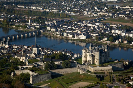 France, Maine et Loire (49), the city of Saumur, Loire Valley, the chateau (fifteenth century) is classified a historical monument, (aerial view) : Stock Photo