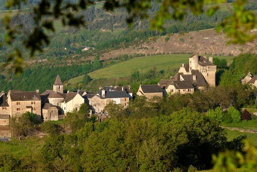 Stock Photo: 1606-177314 France, Lozère (48), Montjezieu, village of the Lot valley, castle of the thirteenth century landscape of Gevaudan