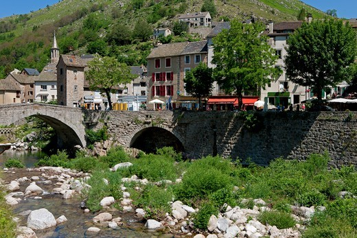 Stock Photo: 1606-177318 France, Lozère (48), Pont-de-Montvert, tourist village at the foot of Mount Lozere, and the Tarn River, the bridge Montvert fortified historic monument