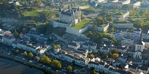 Stock Photo: 1606-177335 France, Maine et Loire (49), the city of Saumur, Loire Valley, the chateau (fifteenth century) is classified a historical monument, (aerial view)