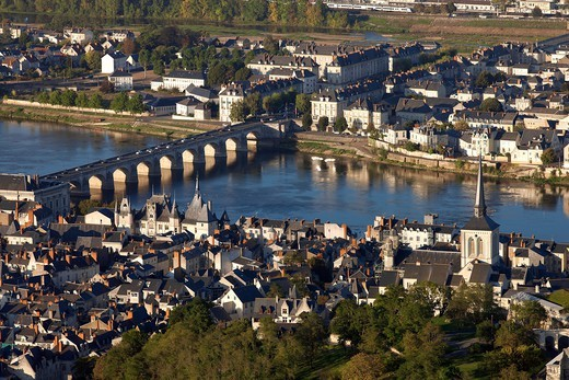 Stock Photo: 1606-177338 France, Maine et Loire (49), the city of Saumur, Loire Valley, the chateau (fifteenth century) is classified a historical monument, (aerial view)